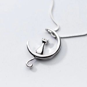 Silver Cat Moon Necklace 🐾